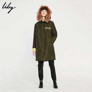 Lily新款女装OL帅气宽松直筒毛领连帽羽绒服117410D1004