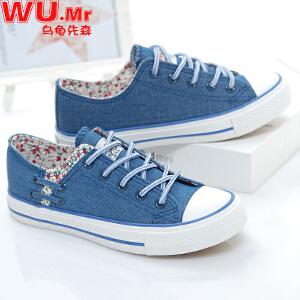 乌龟先森 帆布鞋 女士新款春夏季平底韩版学生球鞋女式低帮低头碎花休闲时尚鞋子