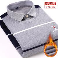 冬季保暖衬衫加绒加厚假两件男士长袖圆领套头中年爸爸针织衫衬衣