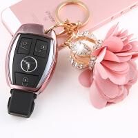 适用奔驰C级钥匙包壳改装新E级GLA/CLA/GLC奔驰钥匙套扣包C200l包