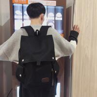男士休闲大学生书包双肩包校园韩版背包大容量翻盖旅行电脑包