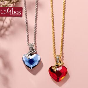 新年礼物Mbox项链 女日韩国版采用施华洛世奇元素水晶情侣锁骨链 全城热恋
