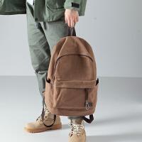 布叮堡新款双肩包男休闲简约帆布包男时尚潮流背包旅行包学生书包