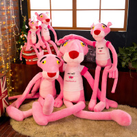 粉�t豹公仔大�可�垲B皮豹娃娃女孩毛�q睡�X抱枕玩偶�和�玩具�Y物