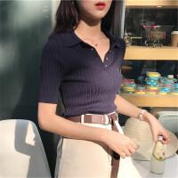 女装短袖上衣韩版春装2018学生紧身套头V领针织polo衫复古港味T恤