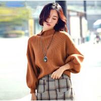 施衣品2016秋季针织衫女套头毛衣灯笼袖宽松版纯色百搭打底衫