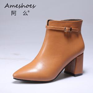 阿么2017秋冬英伦风中高跟短靴尖头皮带扣侧拉链短靴女靴