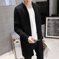 春秋款男士风衣中长款帅气修身针织开衫大衣韩版青年潮流保暖外套