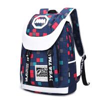 双肩包女韩版潮背包男中学生校园书包电脑旅行包 深蓝色.