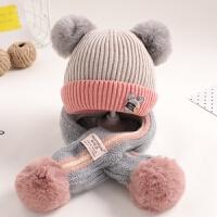 宝宝帽子冬季婴儿毛线帽1一2岁女童0-冬天保暖围巾二件套男童韩版 均码