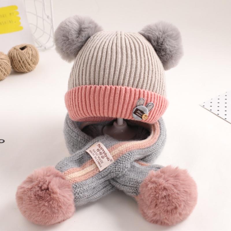 宝宝帽子冬季婴儿毛线帽1一2岁女童0-冬天保暖围巾二件套男童韩版  均码 发货周期:一般在付款后2-90天左右发货,具体发货时间请以与客服协商的时间为准