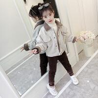 女童秋冬套装加厚2018新款韩版中大童灯芯绒两件套女孩洋气加绒潮