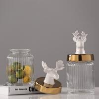 现代简约北欧摆件 家居餐厅电视柜装饰品摆设 鹿头盖子玻璃储物罐