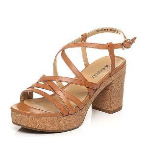 Teenmix/天美意夏专柜同款牛皮罗马风多条带粗高跟女凉鞋6X903BL7