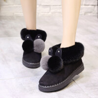ins可爱厚底棉鞋女冬季加绒小短靴保暖居家毛毛绒雪地靴