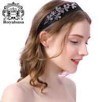 皇家莎莎发箍韩版宽边压发头箍仿水晶手工蕾丝布艺发夹发卡头饰品
