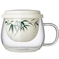 美斯尼玻璃茶杯 陶瓷水杯过滤内胆加厚手绘透明花茶杯耐热泡茶杯