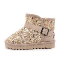 儿童雪地靴亮片女童加绒短靴子宝宝保暖雪地棉靴冬鞋2018新