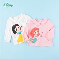迪士尼Disney童装女童T恤甜美娃娃领上衣公主印花翻领体恤2020年春季新品纯棉衣服
