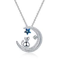 镶施华洛世奇水晶项链 韩国月亮小猫咪星星925银吊坠锁骨颈链