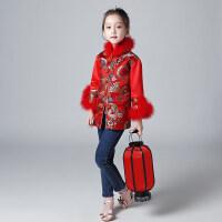 拜年服女童中国风旗袍儿童长袖加厚保暖冬季唐装连衣裙宝宝新年装 红色