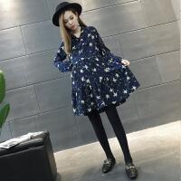 韩版碎花裙子宽松时尚款套装潮妈两件套孕妇春装连衣裙2018