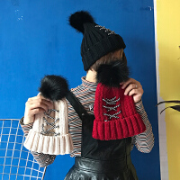秋冬百搭绑带毛球毛线帽子韩版女士保暖学生针织帽休闲套头冷帽潮
