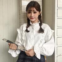 甜美木耳边衬衫女2018春装新款韩版宽松显瘦喇叭袖上衣衬衣学生潮