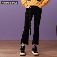 【1件3折到手价:71.7】美特斯邦威牛仔裤女个性时尚长裤潮流微喇阔腿裤子秋装新款