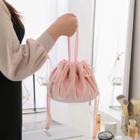 新款韩版丝绒 少女心懒人化妆包粉色 旅行收纳束口袋洗漱包北欧风