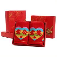 结婚毛巾礼盒2条装加厚棉婚庆回礼情侣套装大红色棉喜字 75x35cm