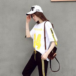 2018新款女时髦套装省心搭配时尚韩版休闲俏皮小清新两件套潮