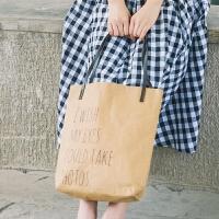 女包秋冬韩版搭原宿原创个性女生手提单肩包牛皮纸复古购物袋纸袋