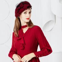 呢子礼帽秋冬新款时尚羊毛呢帽 冬季女士纱网贝雷帽休闲百搭帽子女 可调节