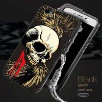 oppo手机壳r9Splus金属边框保护套全包防摔机械手臂浮雕潮男女 黑色 OPPO-R9S