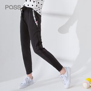 pass2017新款秋装休闲裤女字母印花铅笔裤长裤学生
