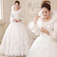 2018新款加厚冬季婚纱礼服新娘结婚冬装婚纱棉长袖冬天保暖大拖尾