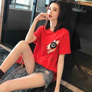 2018早春新款明星同款网红t恤女短袖印花纯棉宽松白色上衣潮