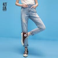 初语夏季新款 破洞花色芽边织带拼接浅中蓝牛仔裤