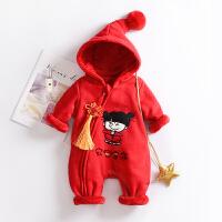 宝宝冬装加厚红色连体衣男女童百日婴儿保暖过年喜庆外出哈衣