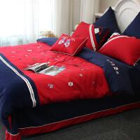 棉加厚磨毛四件套 卡通儿童保暖刺绣小熊小鹿企鹅美式床上用品 英伦范磨毛款时光