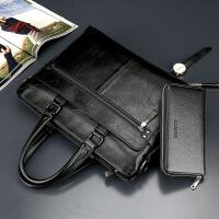 商务男包手提包横款男士包包单肩包斜挎包电脑包软牛皮包男公文包 商务黑 送手包钥匙包卡包