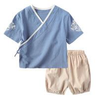 童装 宝宝汉服夏装男童薄款中国风唐装女童棉麻套装儿童短袖古装