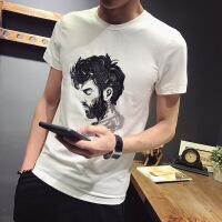 短袖t恤男�A�I夏季�棉修身人�^刺�C男士短袖男�n版半截袖打底衫