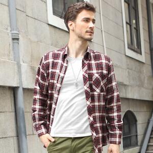 男士全棉格纹基本款衬衫 热那亚棕咖格