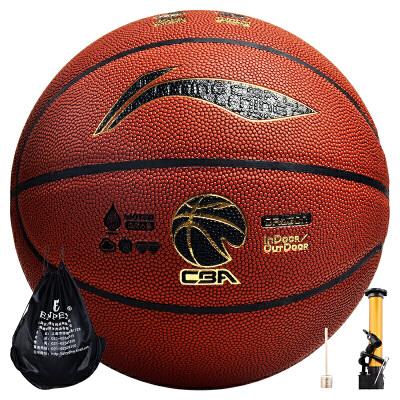 李宁 LI-NING 室内外防水吸湿PU篮球龙焱CBA比赛7号蓝球lanqiu LBQK827-1 包邮 送打气筒三件套
