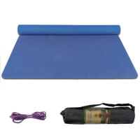 大号双人瑜伽垫tpe加厚加宽加长2米2米环保无味防滑儿童舞蹈垫 宝蓝加长2米加宽122cm 网袋+绑绳