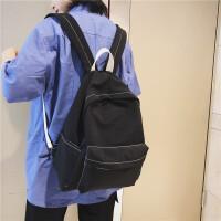 双肩包男女学生休闲书包车缝线情侣纯色背包中学生电脑包