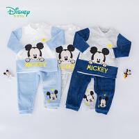 迪士尼Disney童装 萌趣米奇天鹅绒套装秋季新品男童保暖衣服193T930