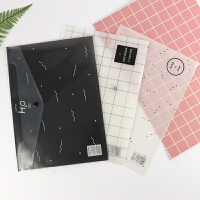 A4文件袋透明韩版学生用资料袋小清新按扣文具卡通试卷收纳袋12个